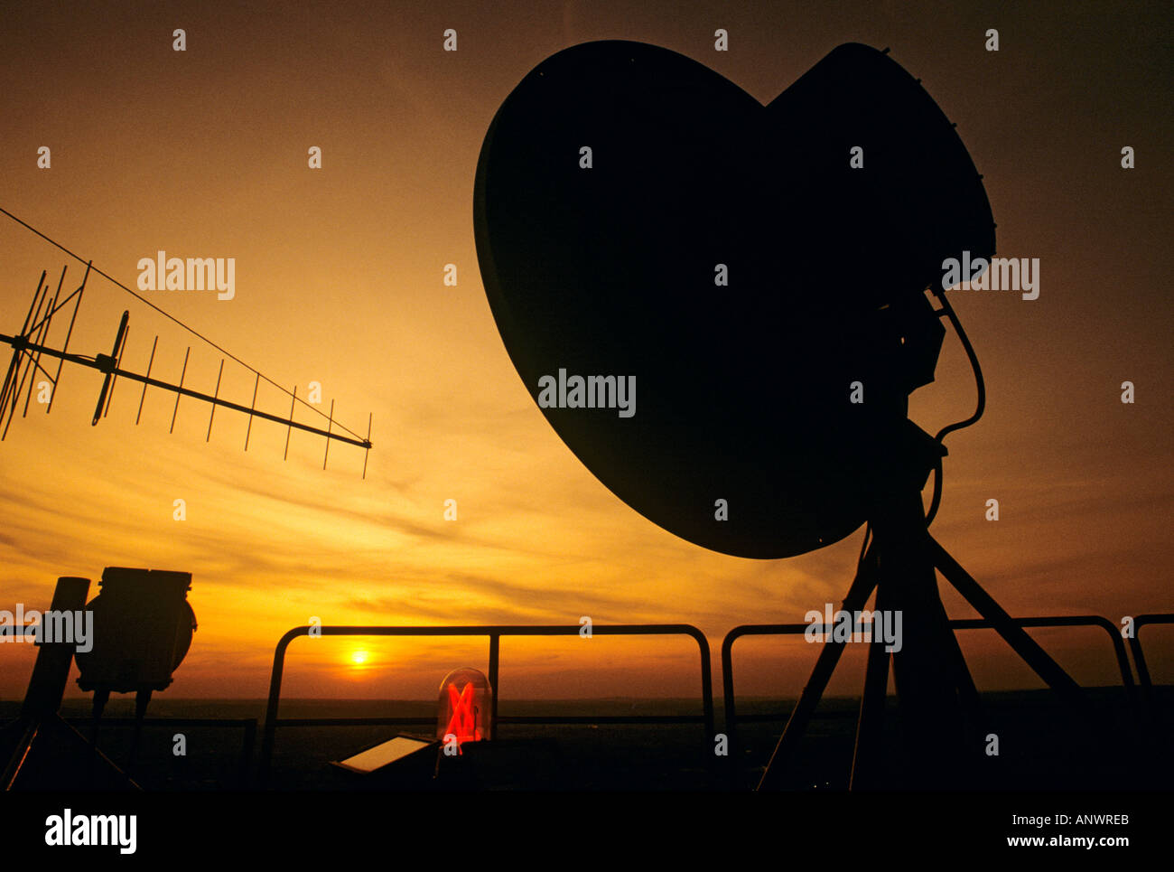 Telecommunications dish on Radio Tower in Prague Czech Republic - Stock Image