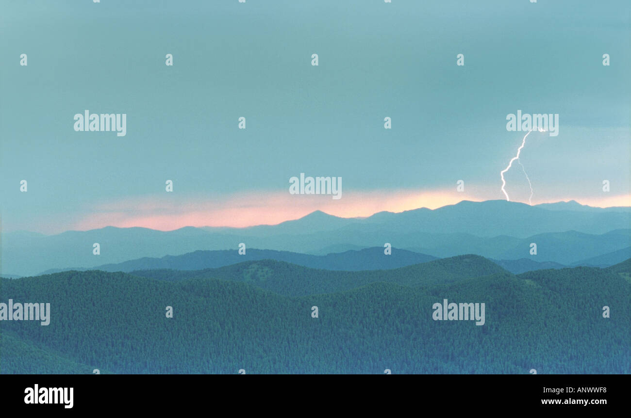 A flash of lightning over the Kuray Range. Altai. Siberia. Russia Stock Photo