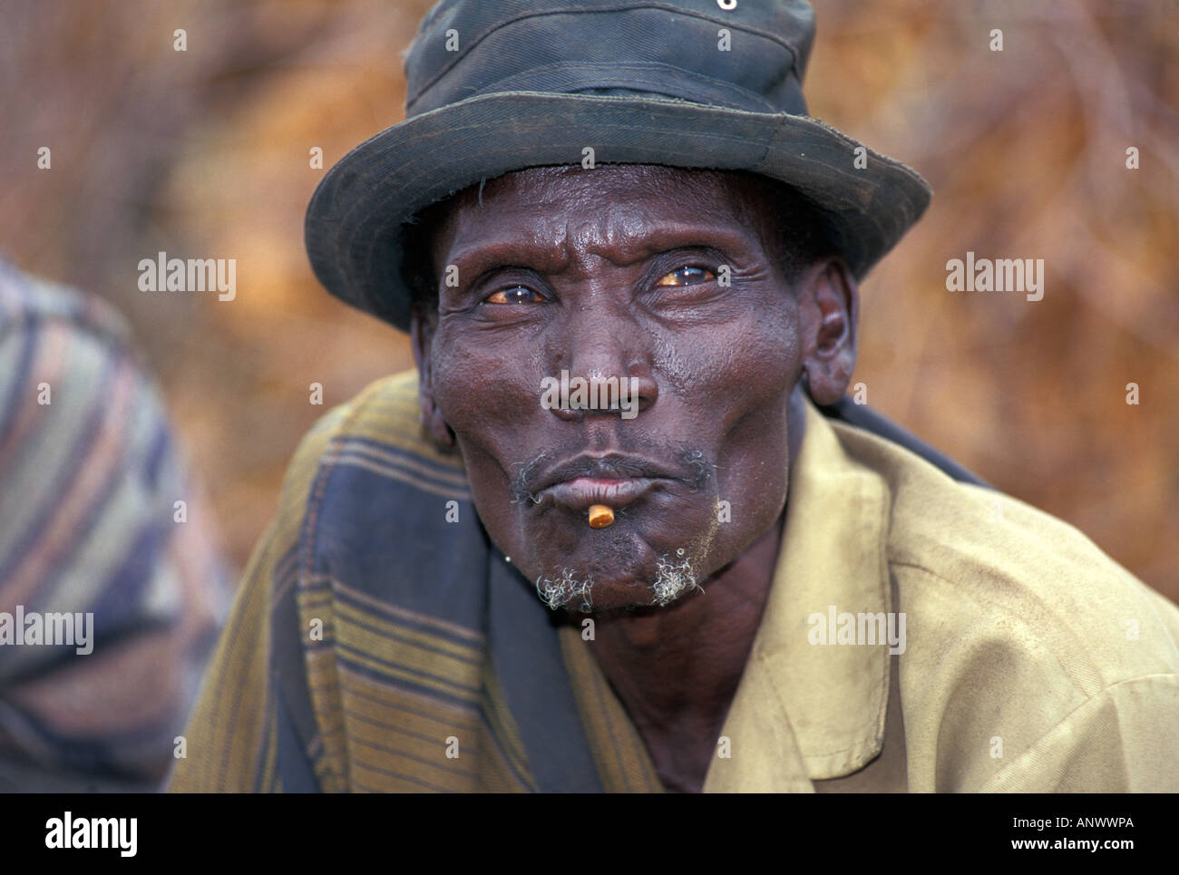 A Bume elder in his village in the Omo region of Ethiopia, Africa. Stock Photo