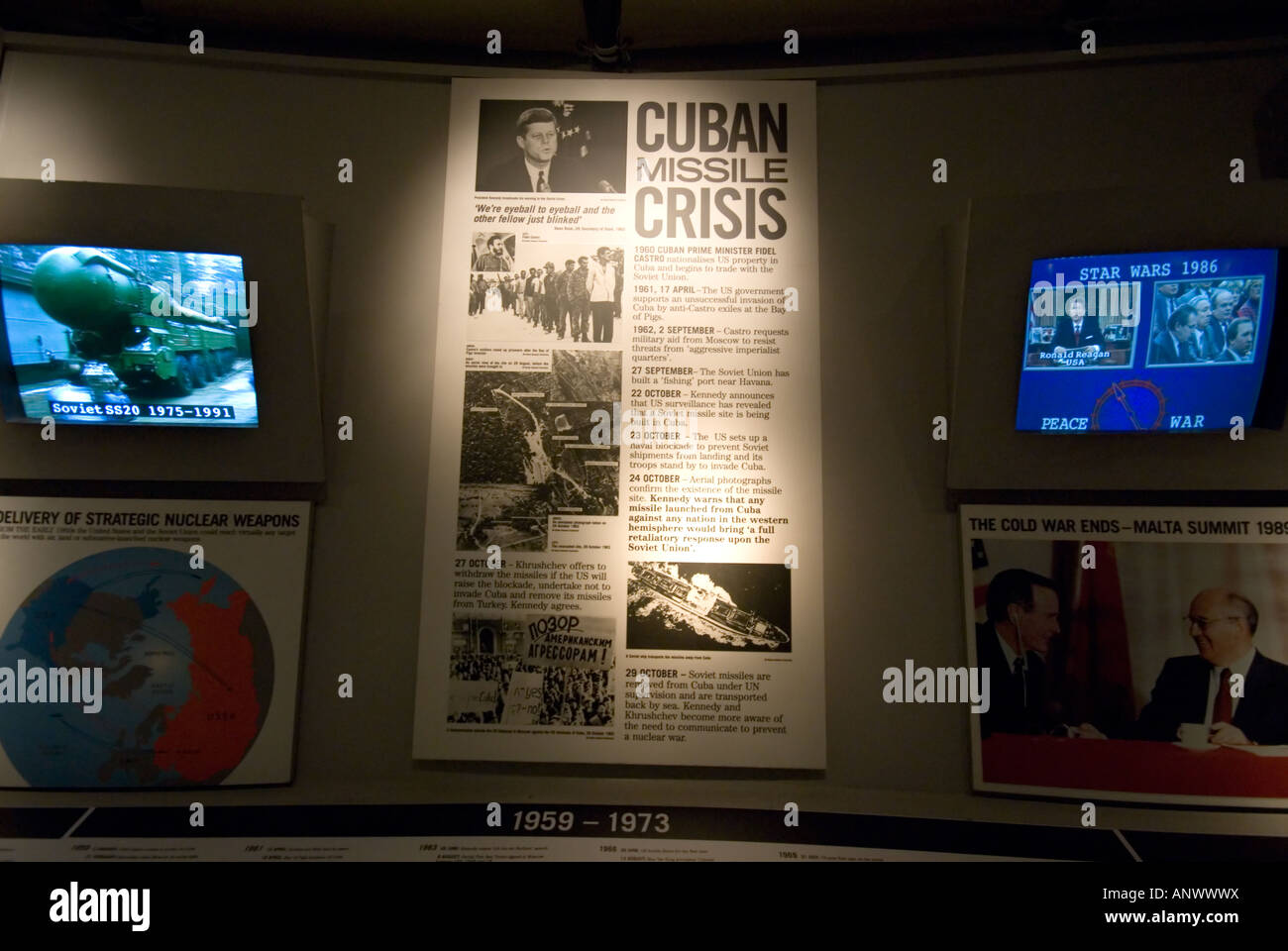 cuban missile crisis notice sign poster 1959 1973, imperial war museum london - Stock Image
