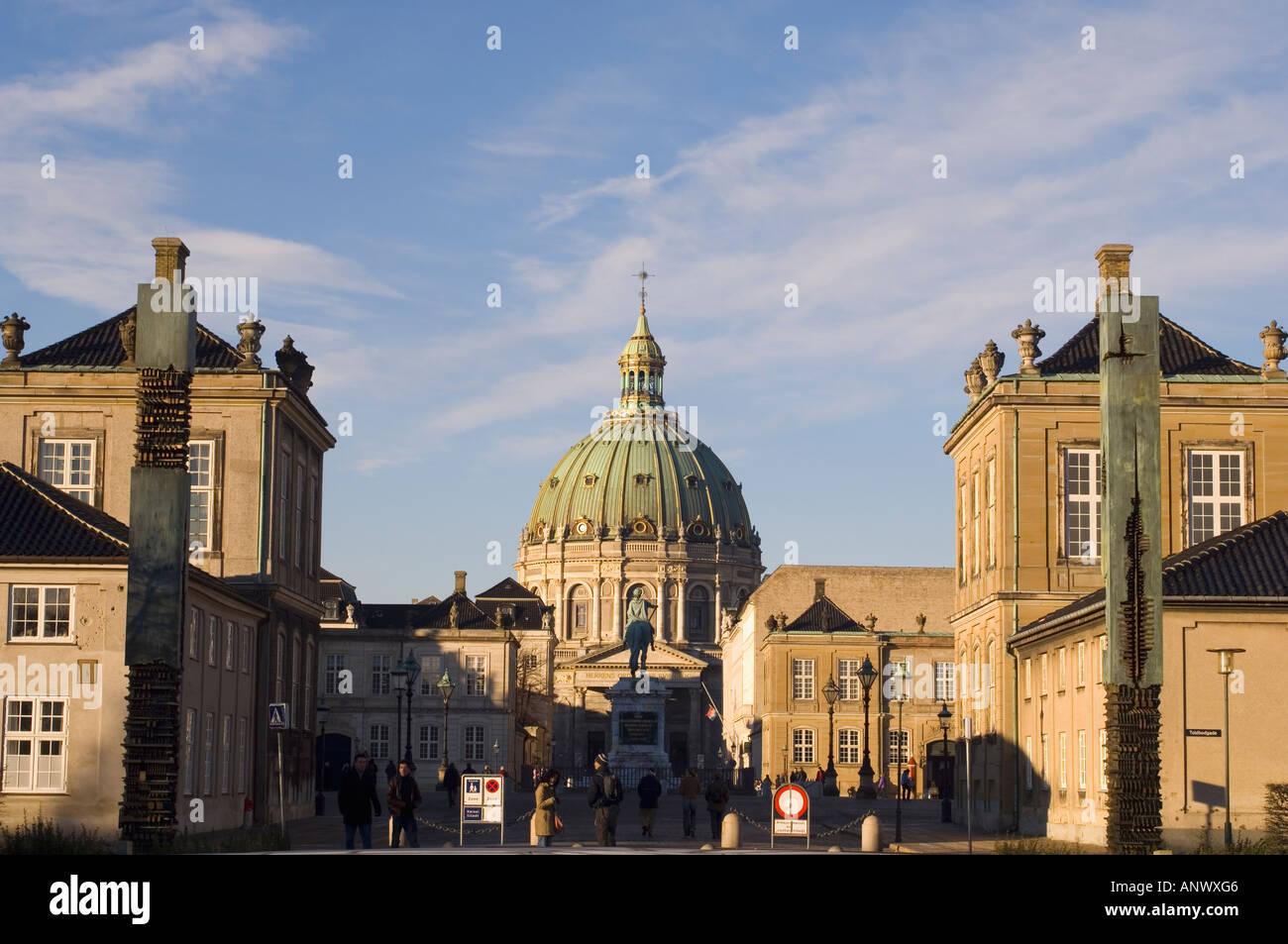 Denmark Copenhagen Amalienborg and Frederikskirken Marmorkirken - Stock Image
