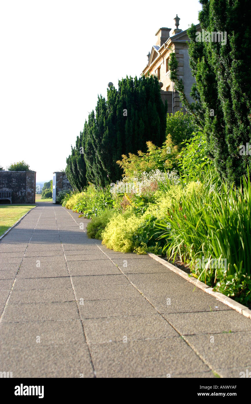 Path in formal garden Chatelherault Country Park Hamilton Scotland - Stock Image