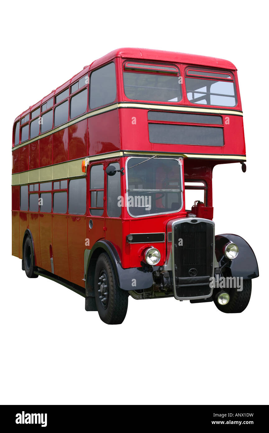 Vintage red double decker bus isolated on white with clipping path - Stock Image