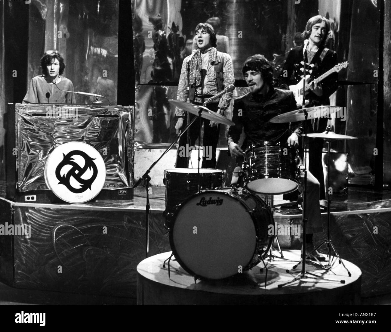 TRAFFIC UK group in 1967 on TVs Top Of The Pops with from left Steve Winwood, Chris Wood, Jim Capaldi and Dave Mason - Stock Image