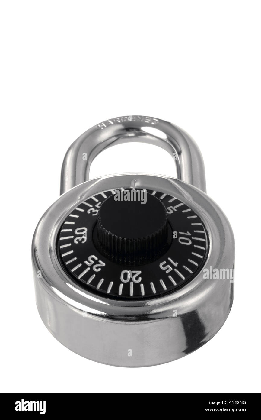 Chrome combination padlock at an angle Isolated on white - Stock Image