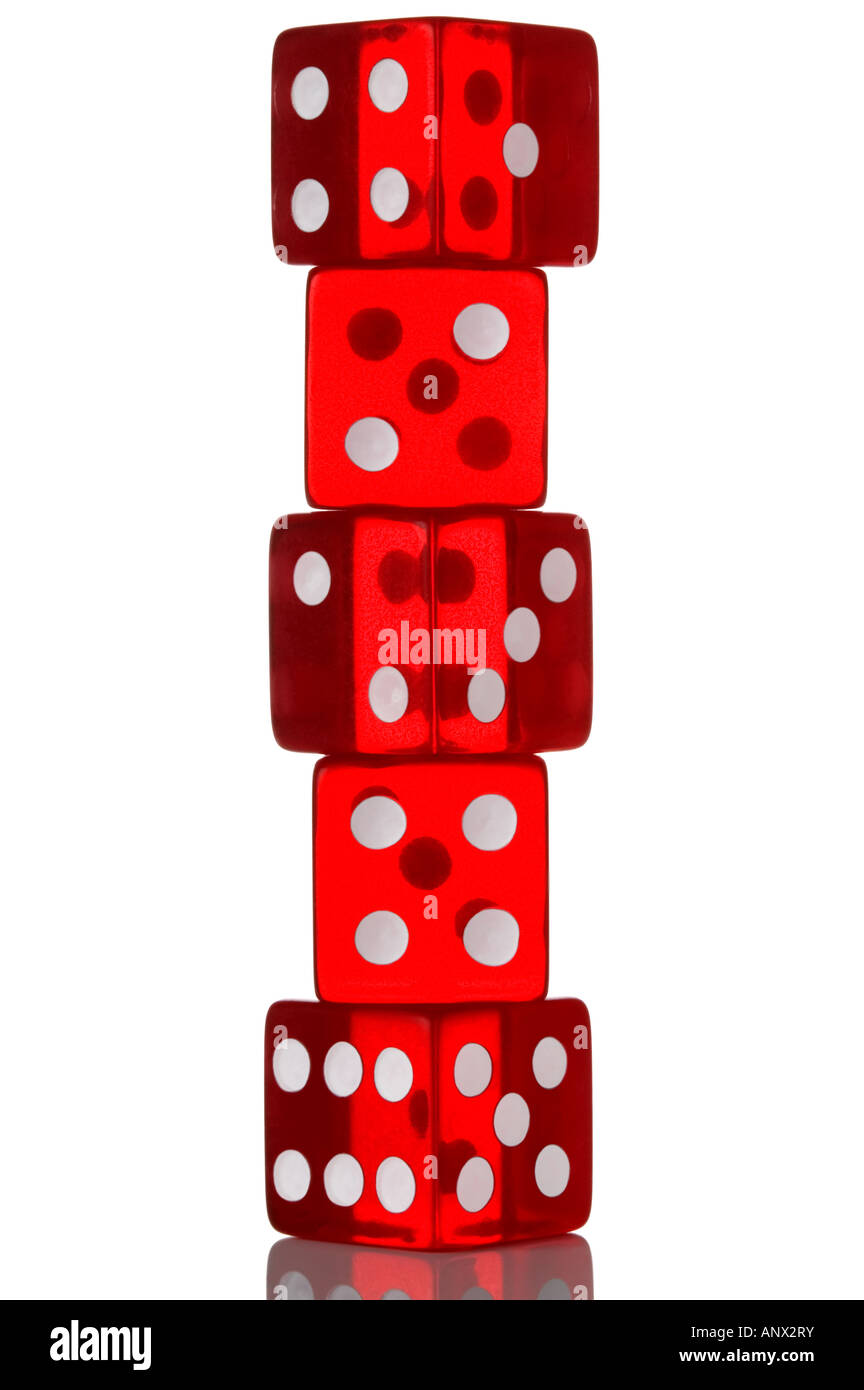 Five red transparent dice in a stack Isolated on white - Stock Image