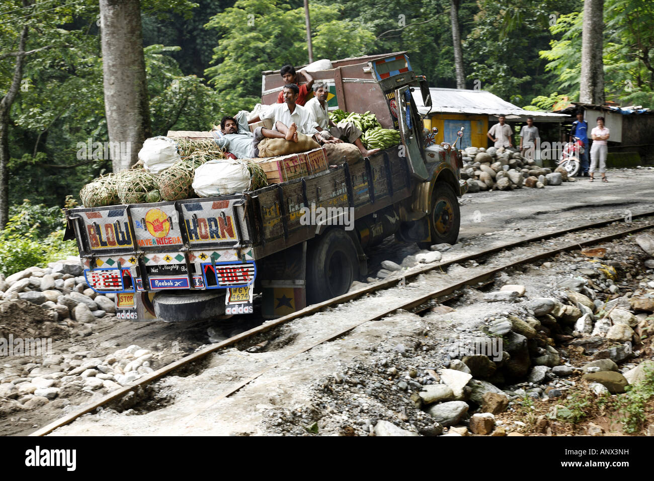 street between Shiliguri und Darjiling, with damaged street because of monsoon rain, India, West Bengal Stock Photo