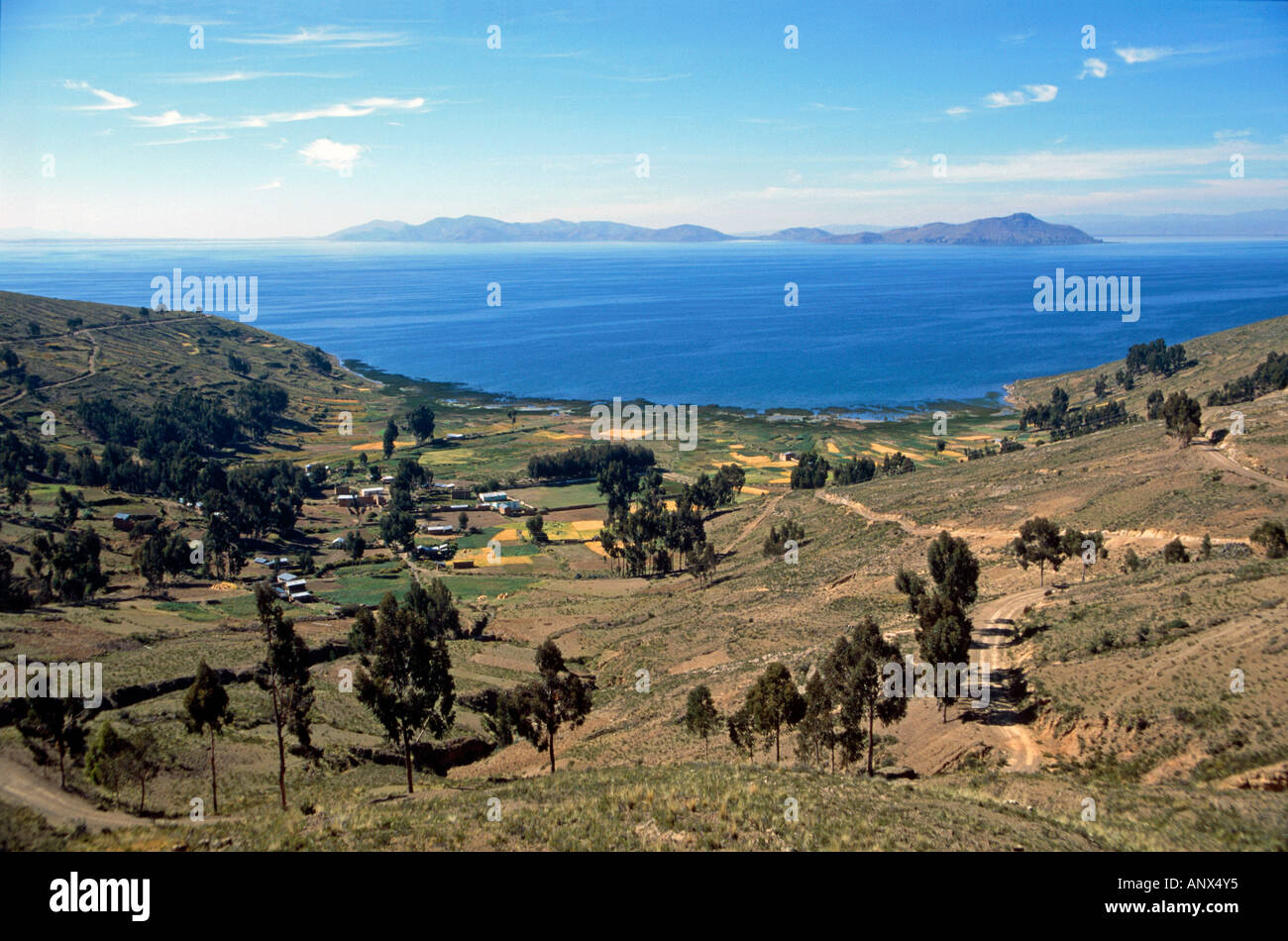 agricultural crops and peasant cottages lake titicaca bolivia - Stock Image