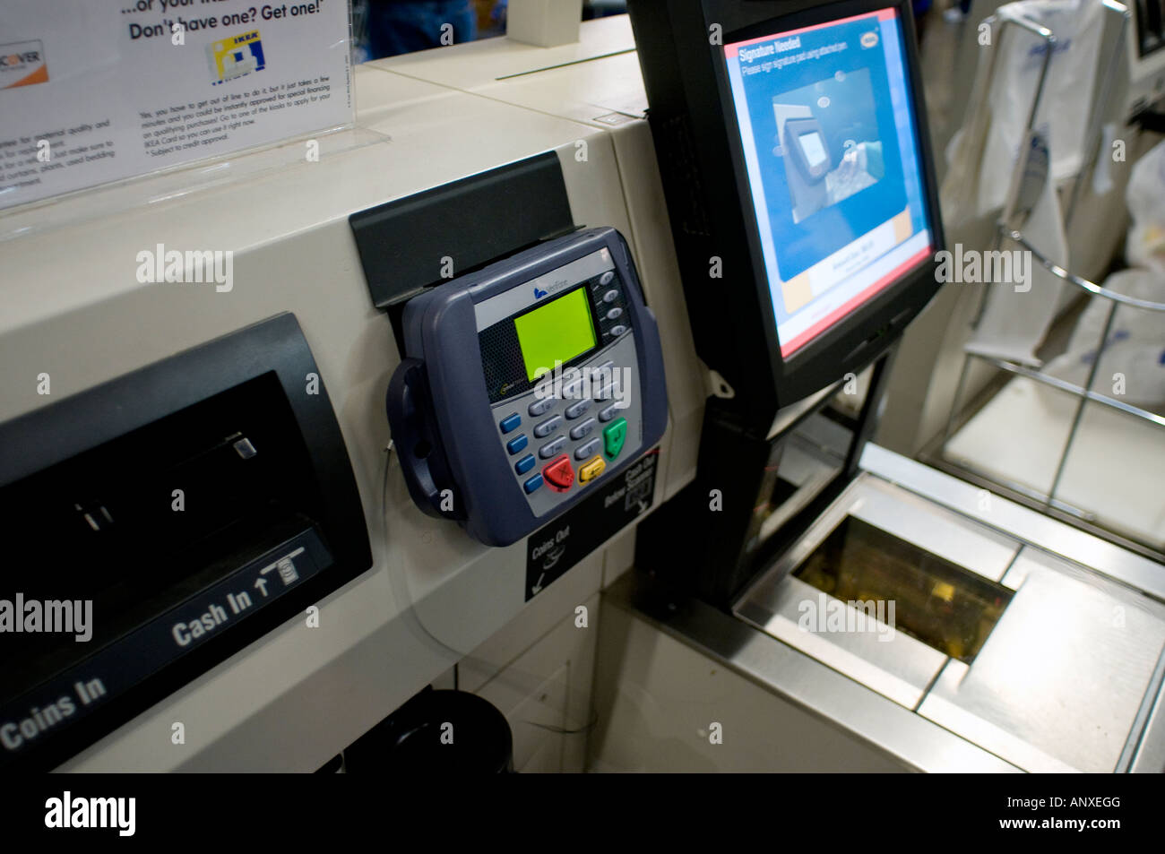 credit card point of sale terminal in the self checkout lane in ikea stock photo 15615903 alamy. Black Bedroom Furniture Sets. Home Design Ideas