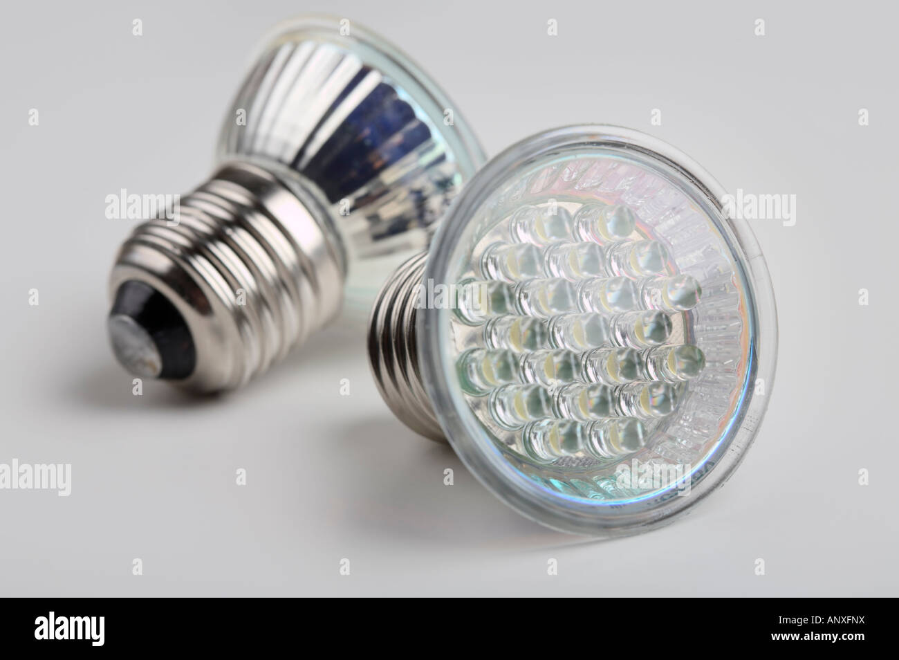 A pair of LED bulb lights with standard E27 Edison screw connector Stock Photo