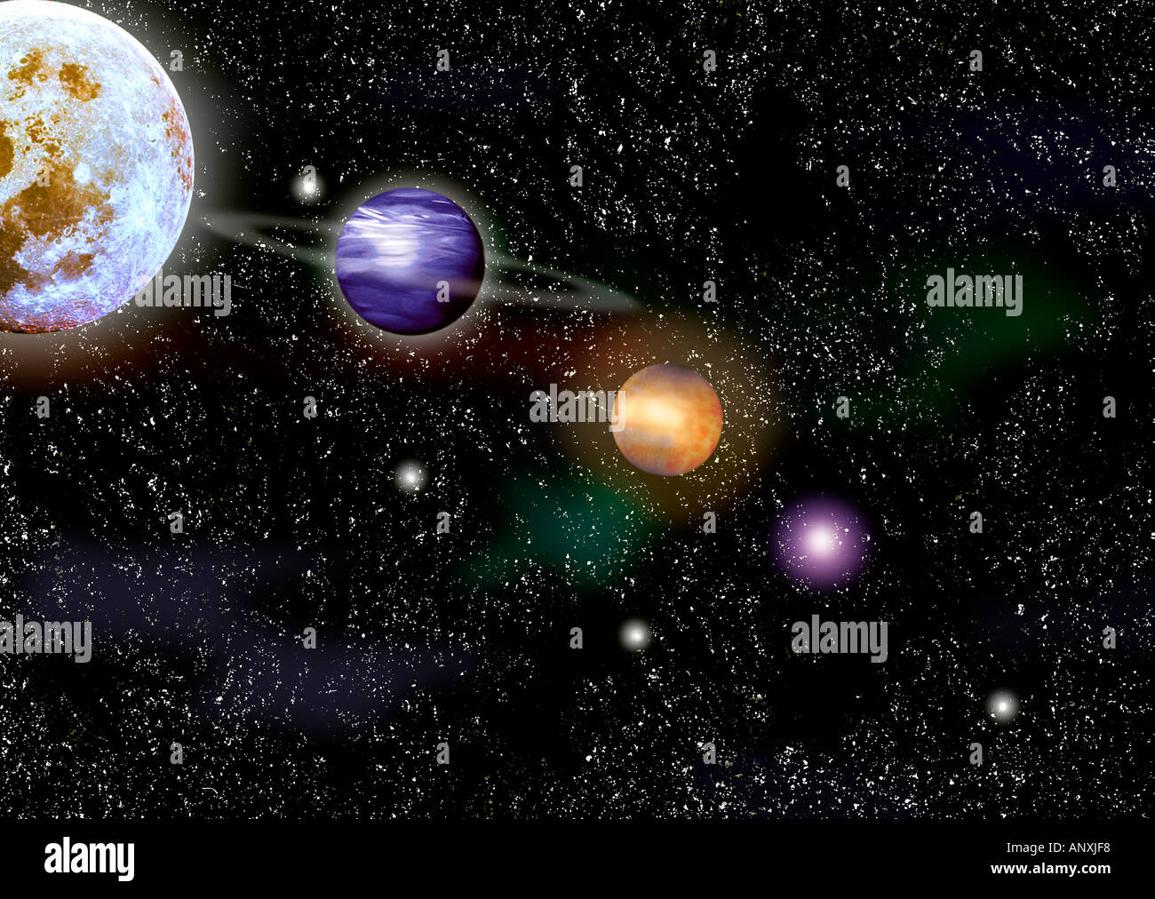 Space Cosmos Photo Illustration Showing Planets Moon And Stars Graphic Suns Universe