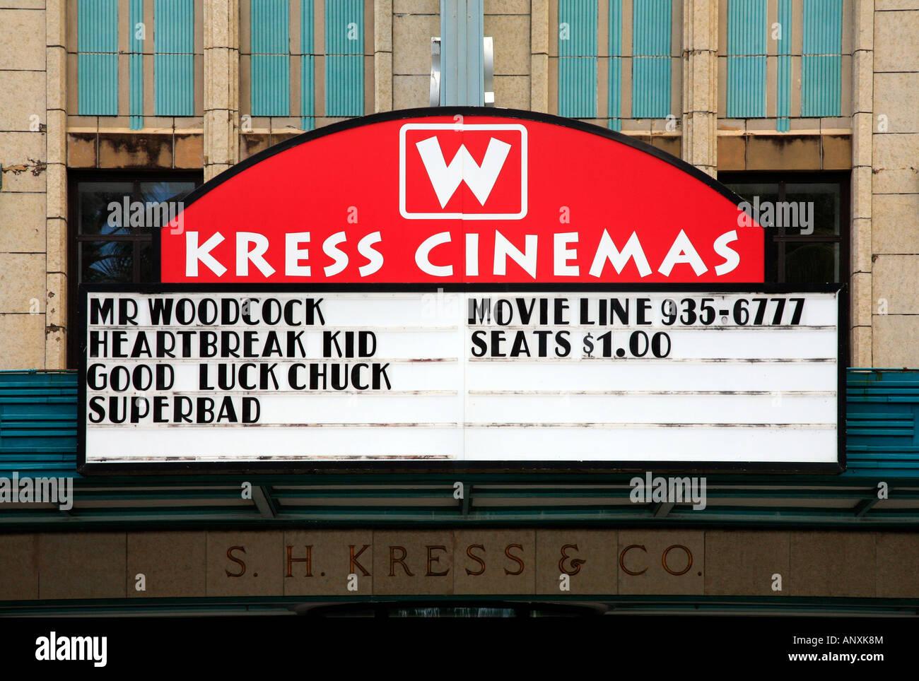 Facade of Kress cinema in Hilo Hawaii - Stock Image