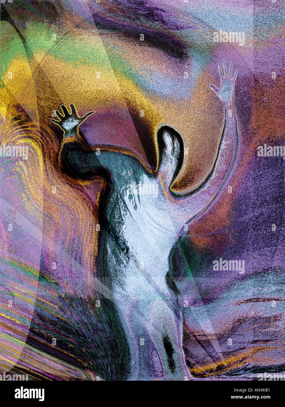 person in torment swirling around colourful background abstract concept - Stock Image