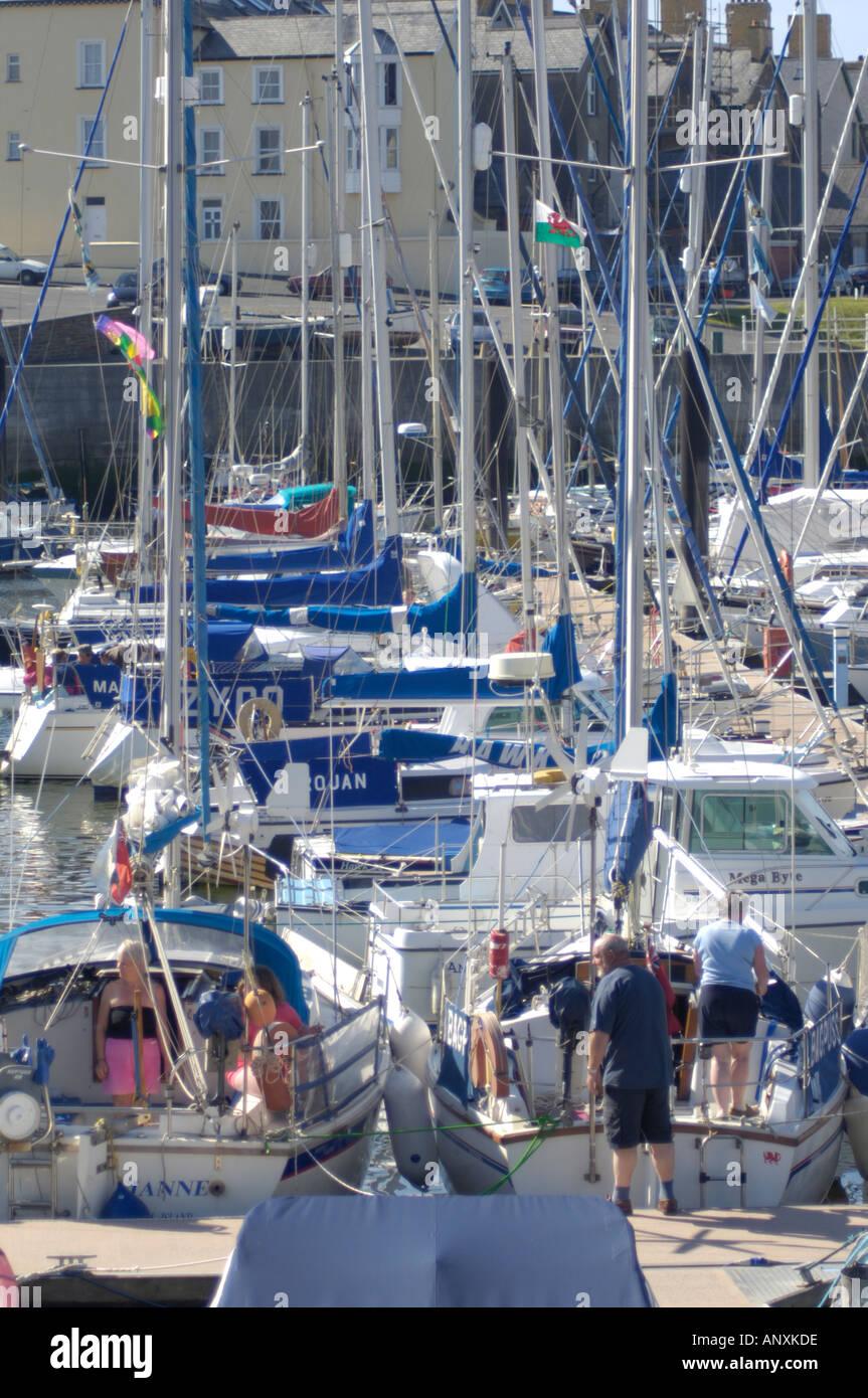 Boats in Marina Aberysywyth Ceredigion West Wales Stock Photo