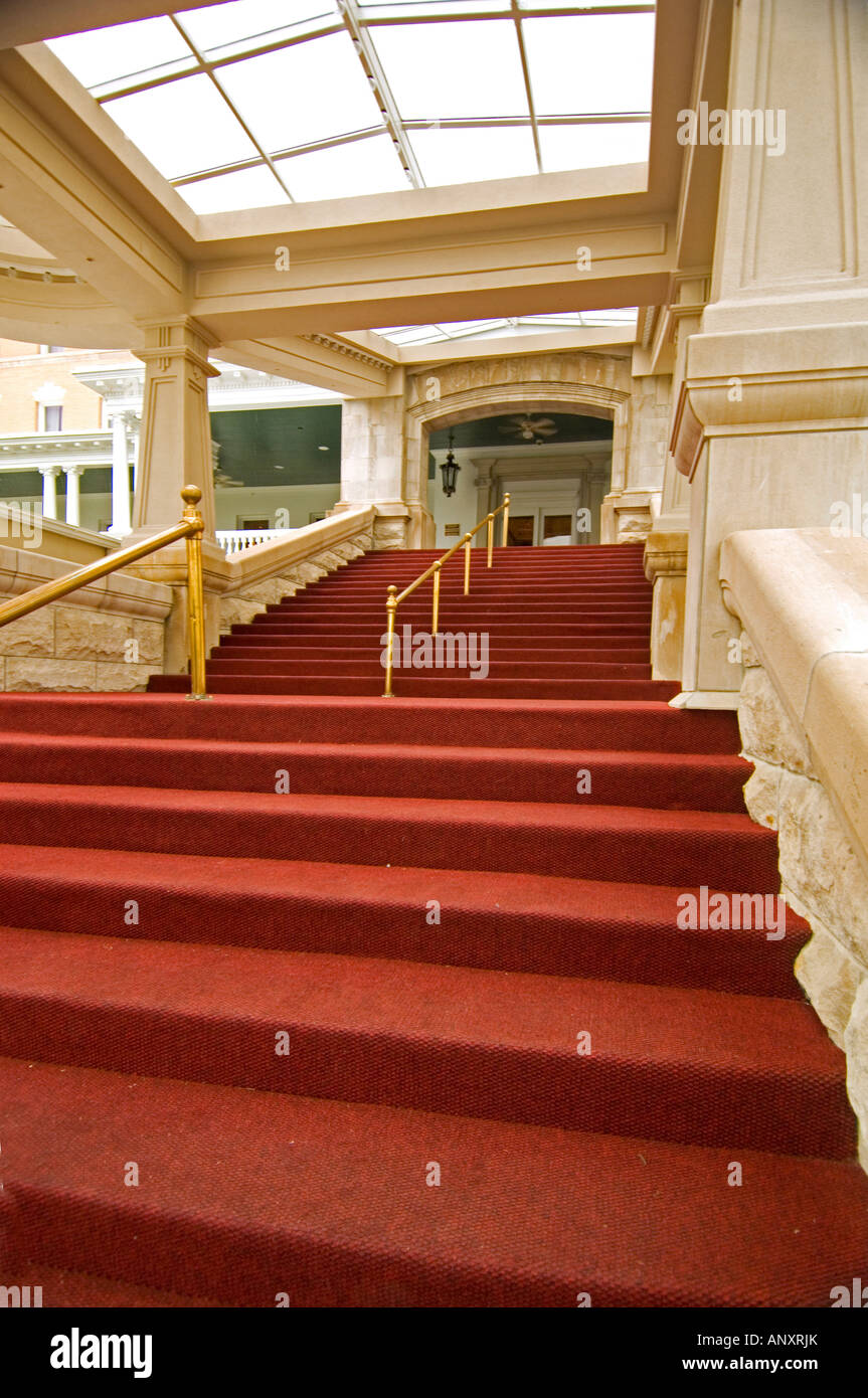 Red carpeted stairway at the French Lick Springs Resort and Casino a restored luxury hotel in French Lick Springs - Stock Image
