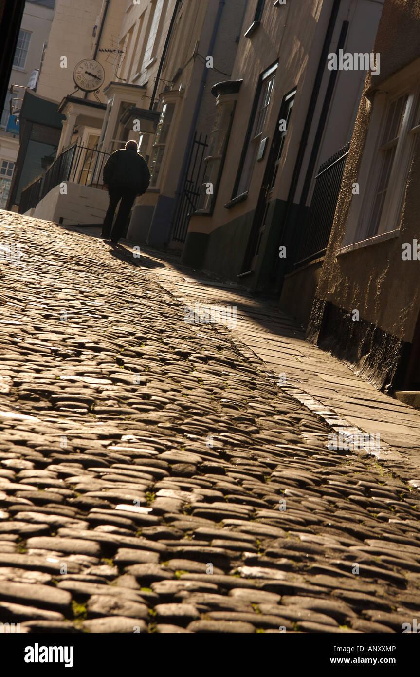 Cobbled Street Hocker Hill Chepstow Stock Photo