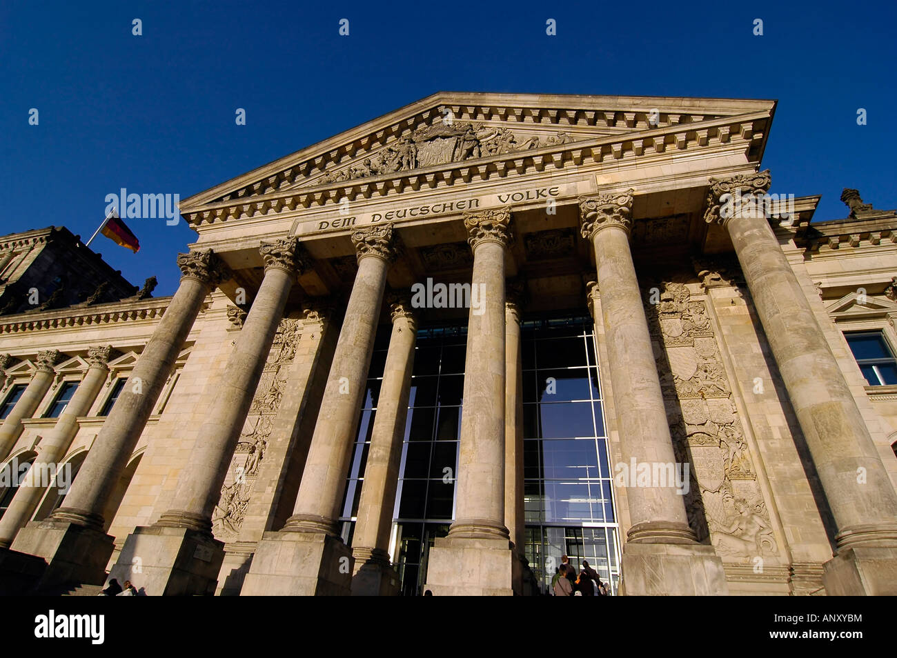 Entrance of the Reichstag building in Berlin, Germany. This building hosts the German parliament and is a symbol - Stock Image
