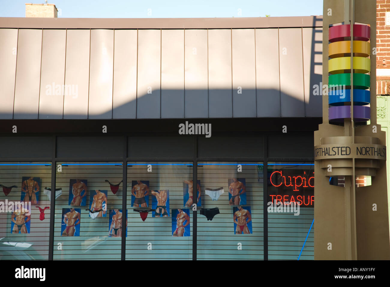 ILLINOIS Chicago Mens underwear and lingerie displayed in retail store  window rainbow colored pylon in North Halsted area e520000cc153