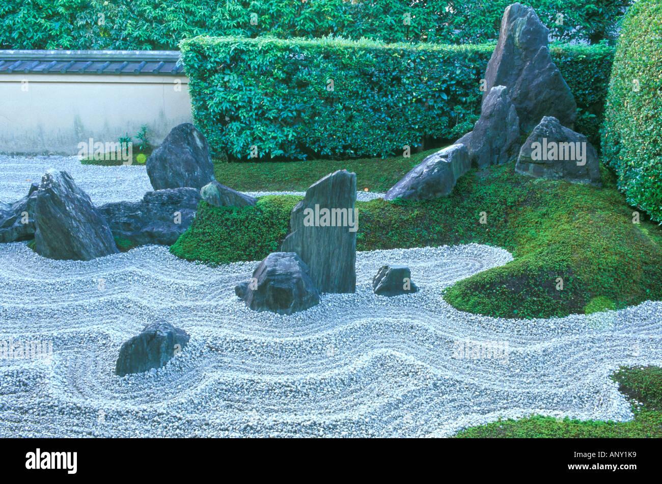 Asia, Japan, Kyoto, Daitokuji Temple, Zuiho-in Rock Garden - Stock Image
