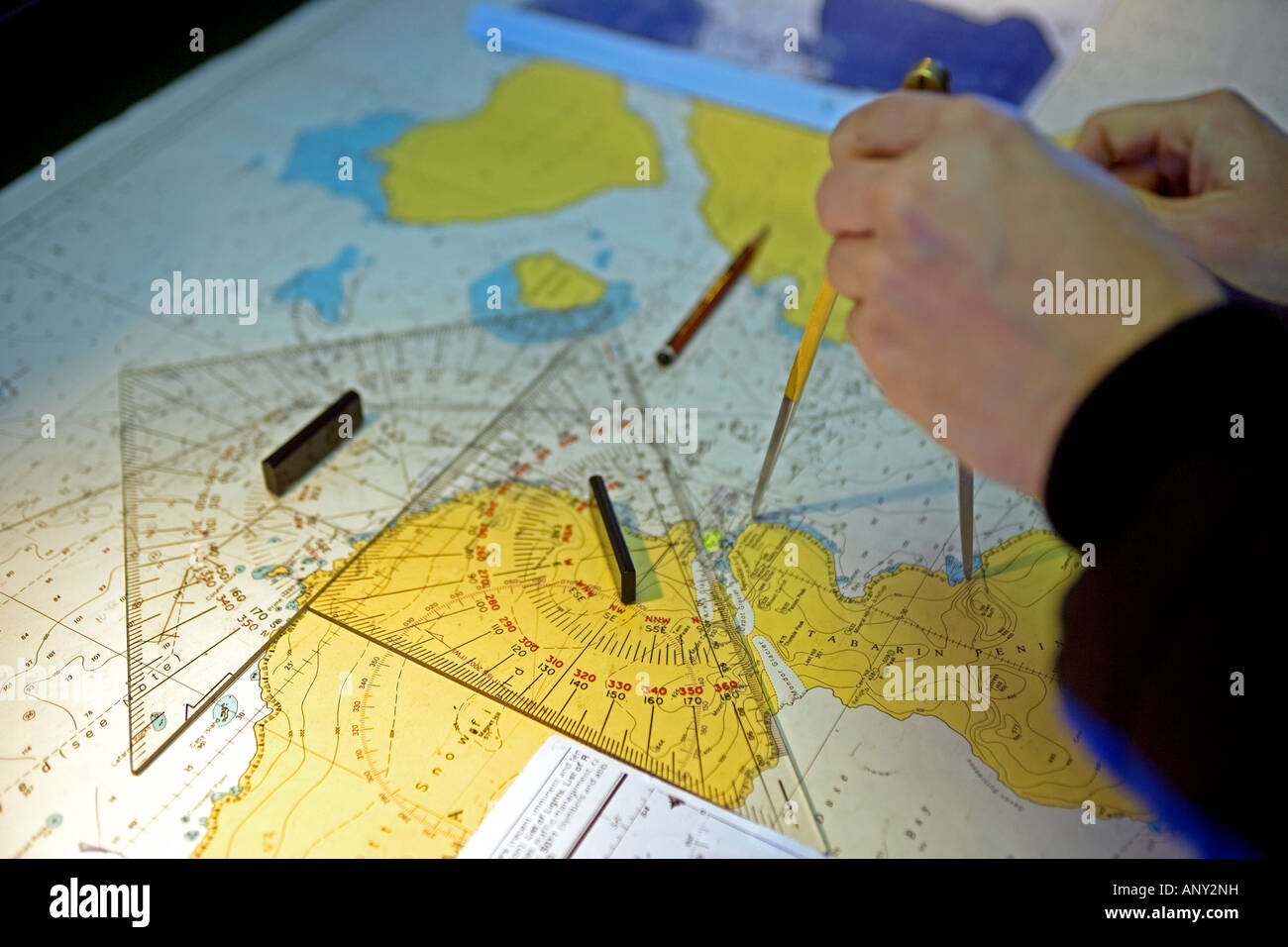 Antarctica, Antarctic Peninsula. The chart room on the bridge of the expedition ship MV Discovery. - Stock Image