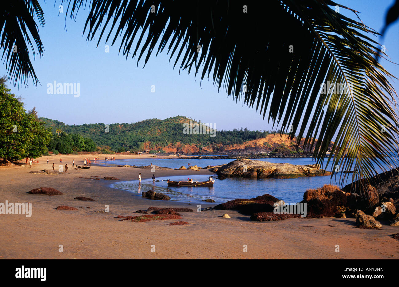 India, Karwa District, Gokarna. Om Beach - one of several beaches outside the pilgrimage town of Gokarna. - Stock Image