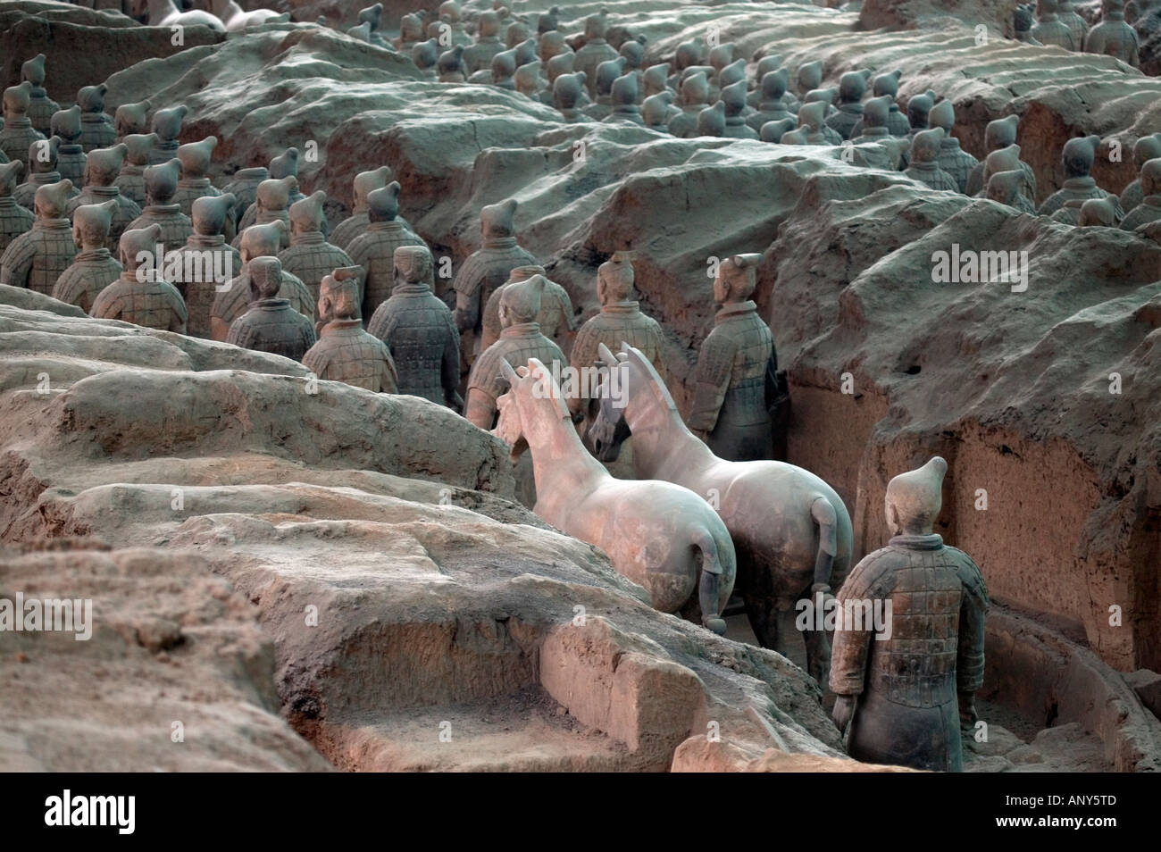 Figures from the Terracotta Army Xi an China - Stock Image
