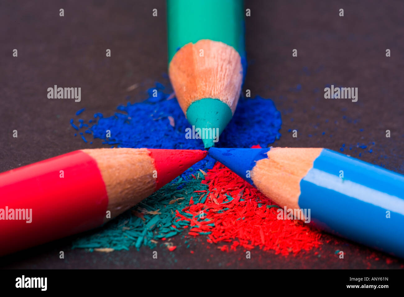 3 Pencils Red Green Blue Primary Colors Stock Photo 15622448 Alamy