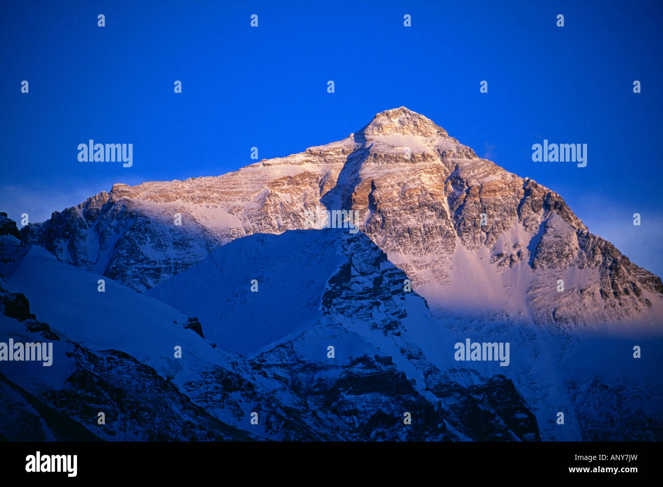 Tibet, Chomolungma, Rongbuk. Mount Everest (8,848m). Sunset on Mount Everest, known locally as Chomolungma. - Stock Image