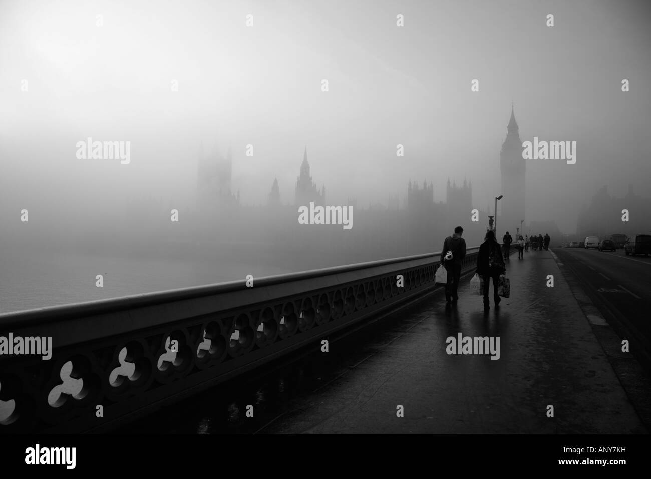 Fogbound Westminster Bridge and Houses of Parliament, London - Stock Image