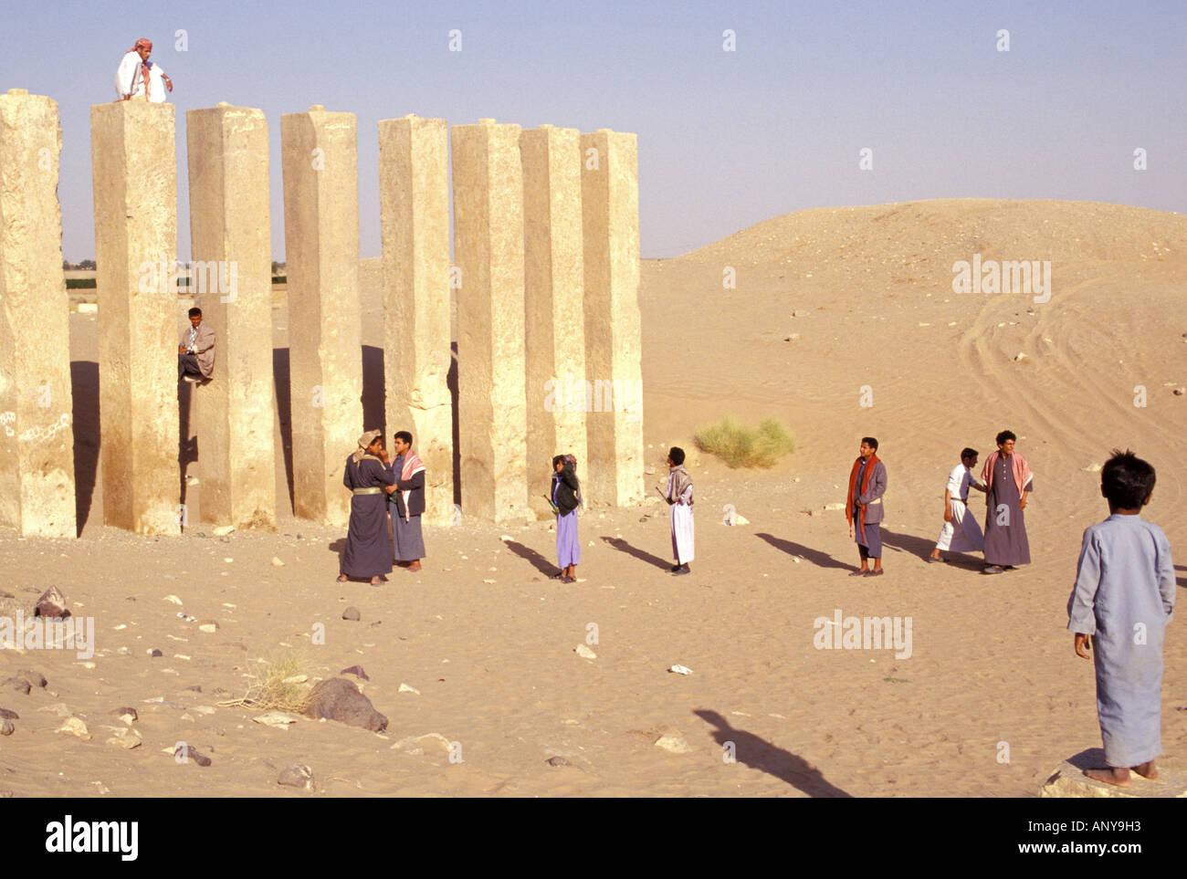 Asia, Middle East, Republic of Yemen, Ma'Rib. Awwam Temple - Stock Image