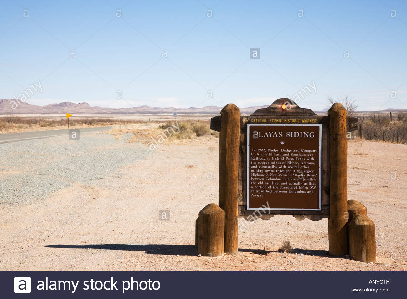 Playas Siding Historical Marker along New Mexico Border Route Highway 9 - Stock Image