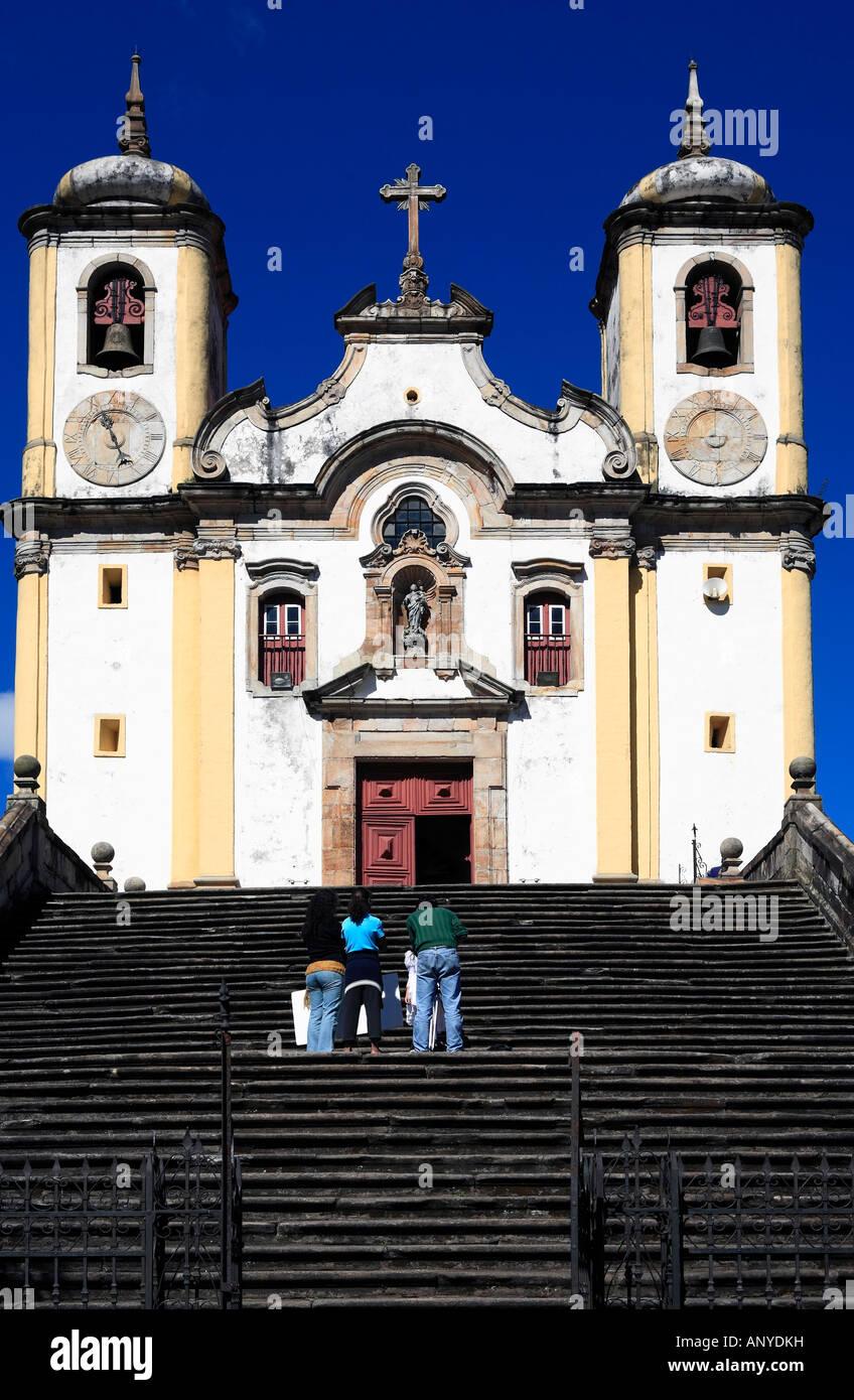 view of the Igreja de Santa Efigenia dos Pretos of the unesco world heritage city of ouro preto in minas gerais - Stock Image