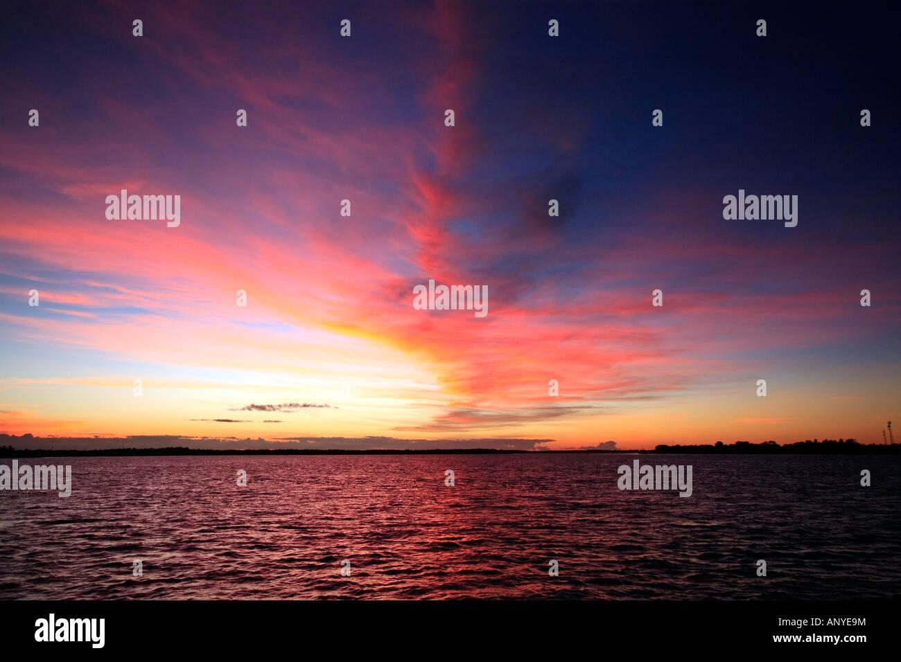 red sunset on caravelas bahia state brazil - Stock Image