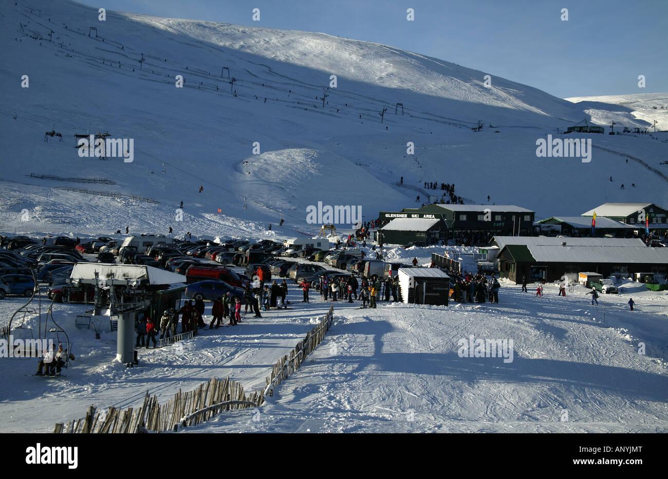 ski slopes, cairngorms national park, glenshee, perthshire and stock