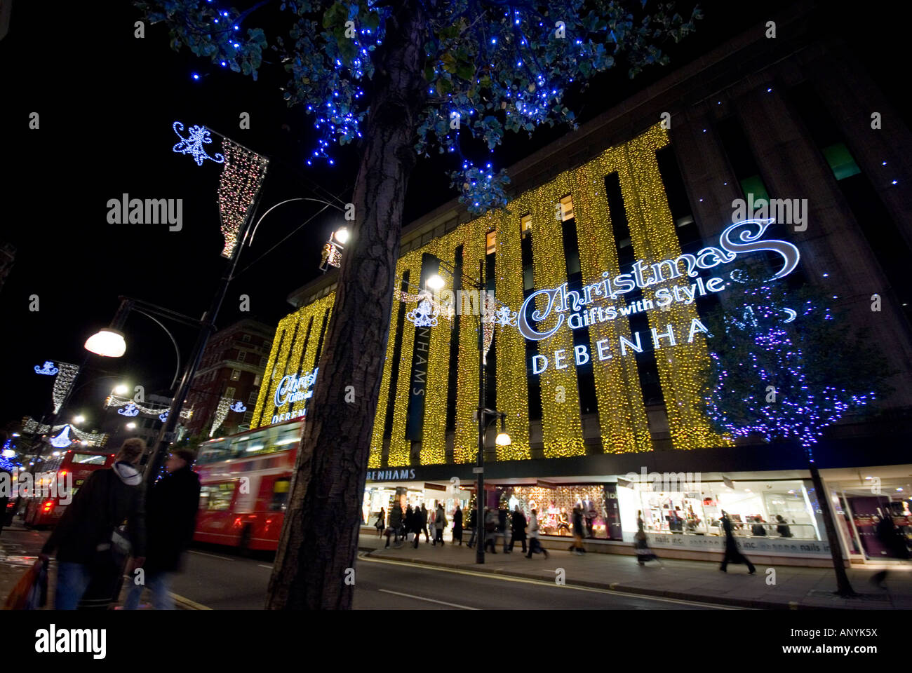 Debenhams christmas light in oxford street by night london Stock ...