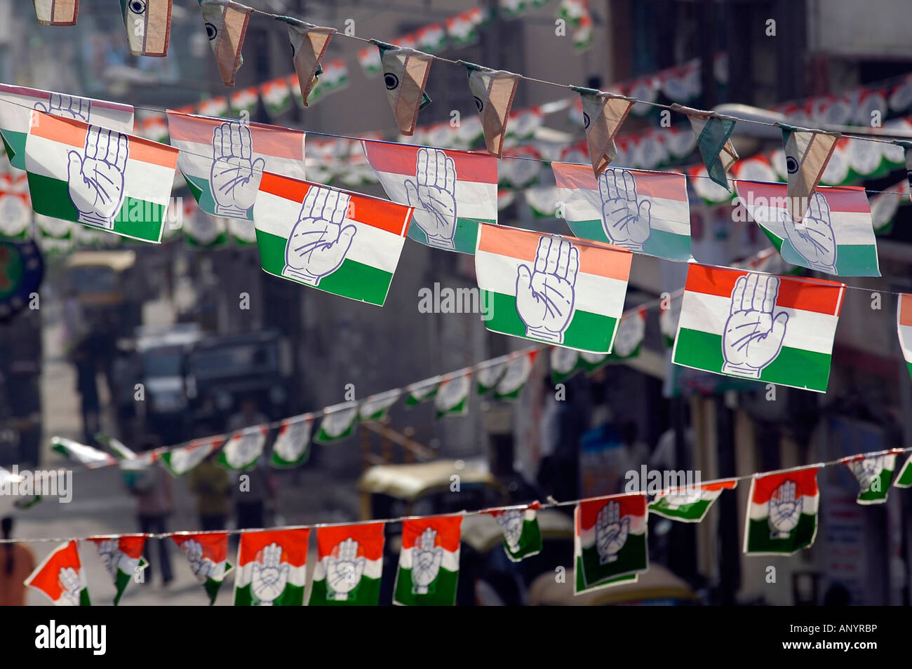 Hundreds Of Flags Of The Indian National Congress Party