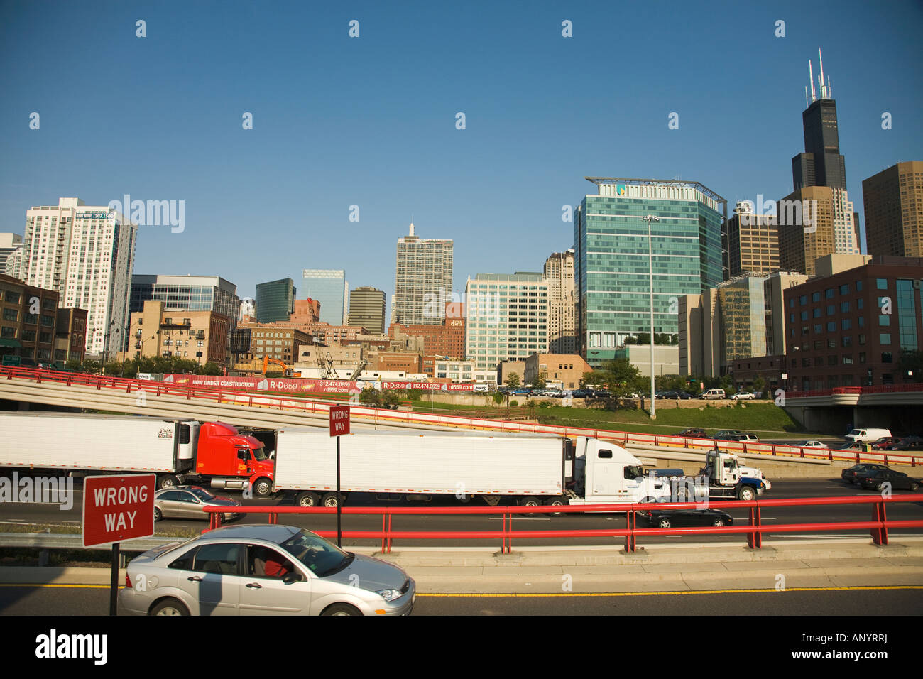 ILLINOIS Chicago Traffic on Kennedy highway interstate system wrong way signs on exit ramp - Stock Image