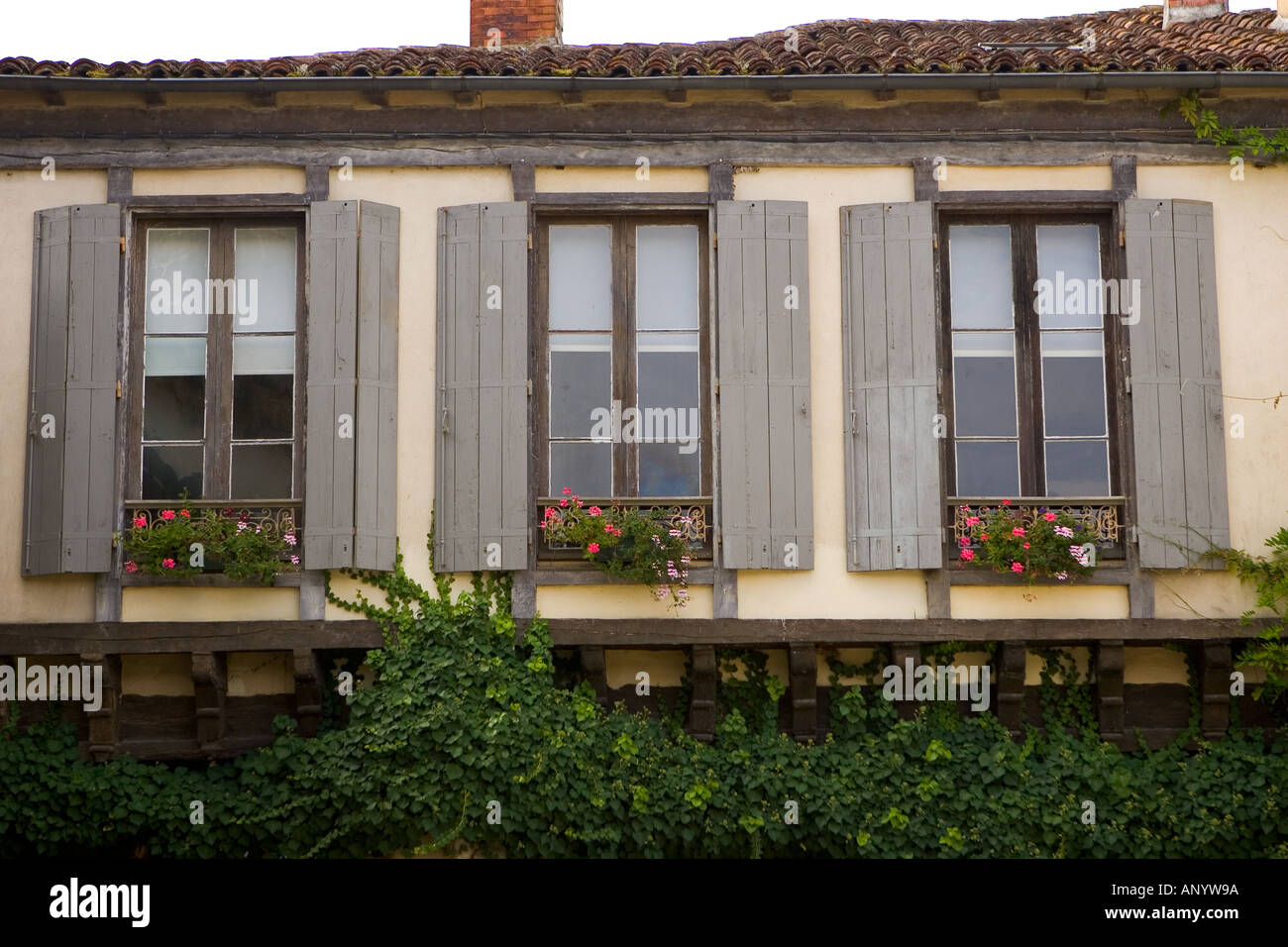 Window shutters Labastide d Armagnac France - Stock Image