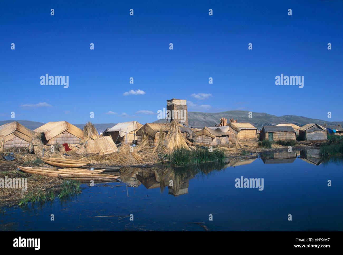 floating island made by totora reed lake titicaca peru bolivia - Stock Image