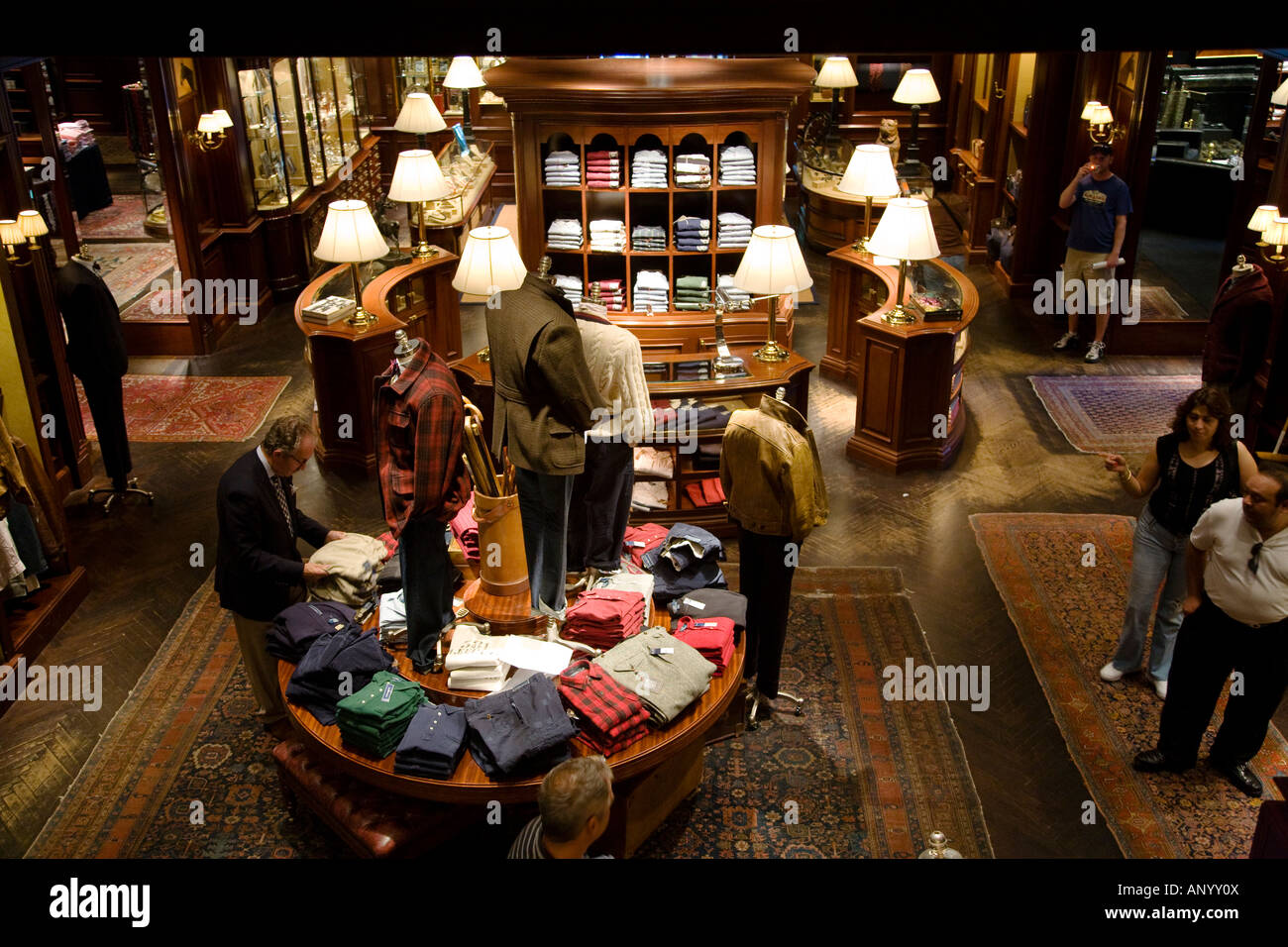 ILLINOIS Chicago Interior of Ralph Lauren men s clothing store on Michigan Avenue retail shop on Magnificent Mile - Stock Image