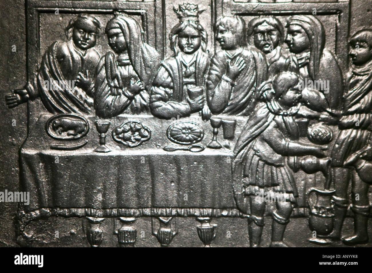 FRANCE, Alsace (Haut Rhin), Strasbourg: Musee Alsacien / Alsatian Museum / Metal Frieze of Alsatian Wedding - Stock Image