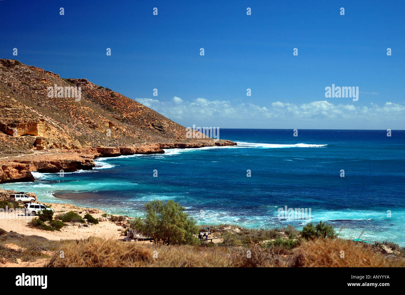 Campsite at Red Bluff the southernmost boundary of Ningaloo Marine Park Quobba Station Western Australia - Stock Image