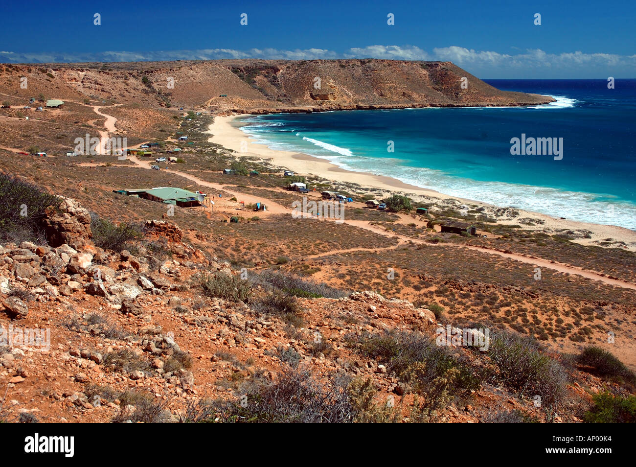 Red Bluff campsite Quobba Station southern boundary to Ningaloo Reef Marine Park Western Australia - Stock Image