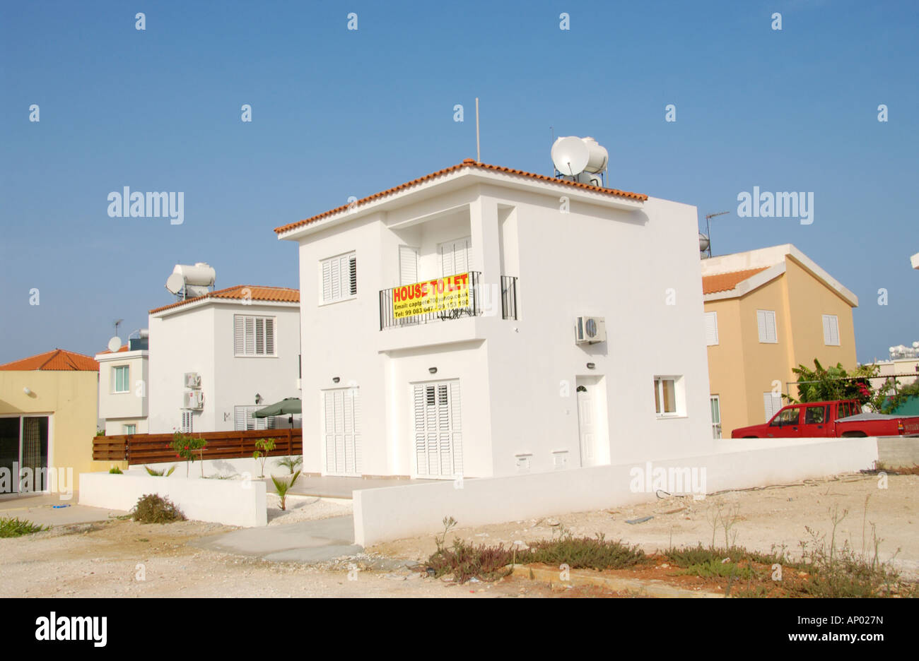 House to let at Pernera on the Mediterranean island of  Cyprus EU - Stock Image