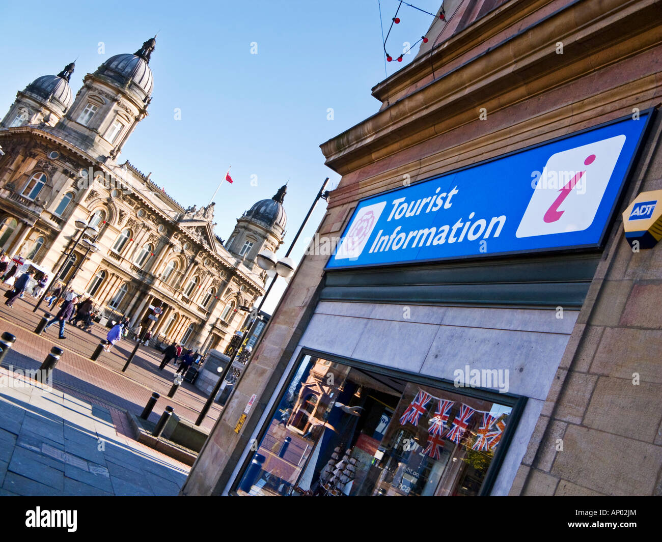 Tourist information office at City Hall Victoria Square in Hull, East Yorkshire, England, UK with the Maritime Museum - Stock Image