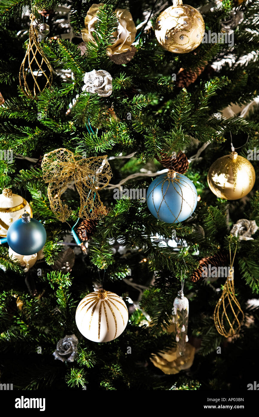 Blue White And Gold Decorations On Christmas Tree In English Home Stock Photo Alamy