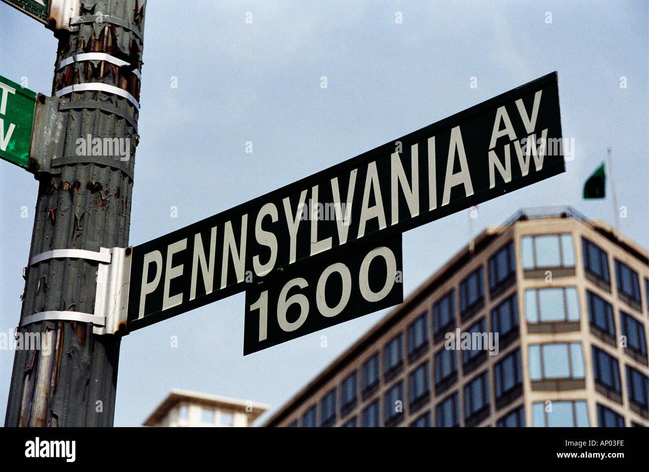 White House Address At 1600 Pennsylvania Avenue In Washington Stock