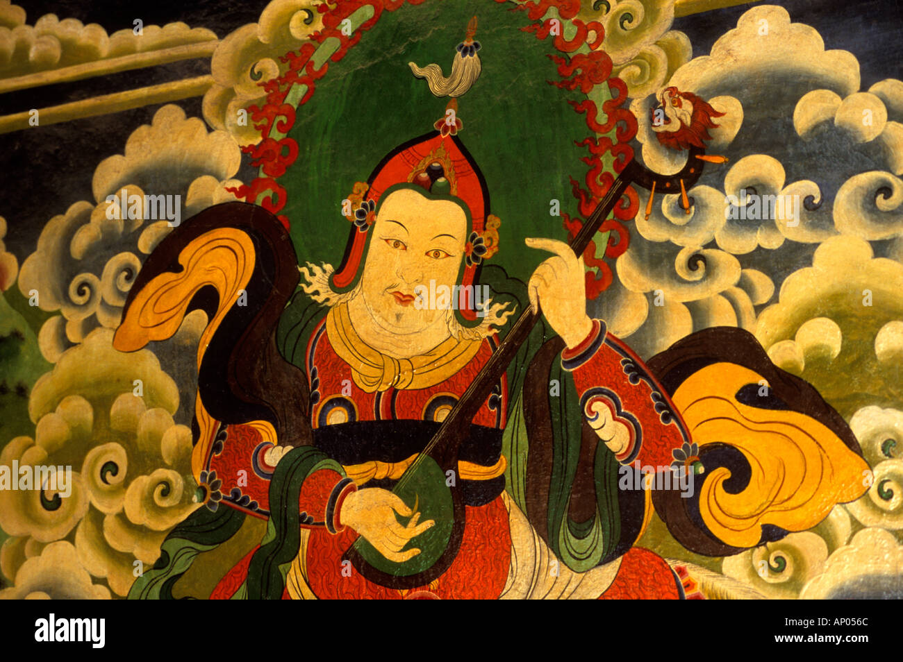 A painting of LING KESAR one of the GAURDIANS OF THE FOUR DIRECTIONS at the MILAREPA CAVE near NYALAM TIBET - Stock Image
