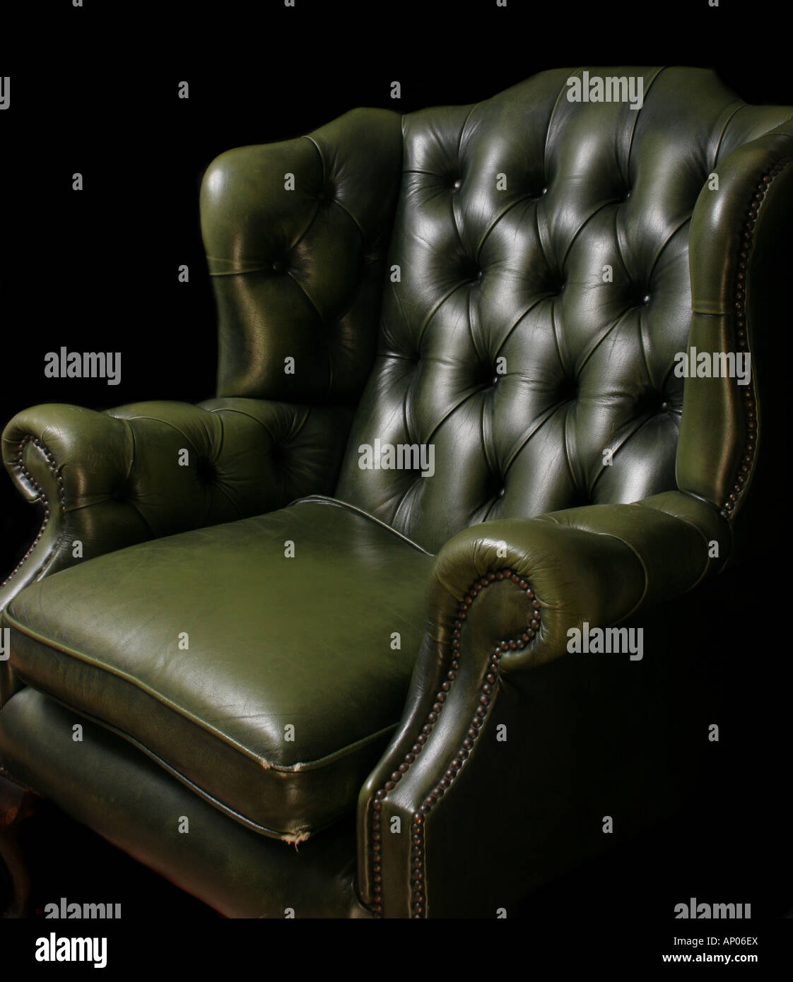 Antique Green Leather Chesterfield Armchair Stock Photo 15632017