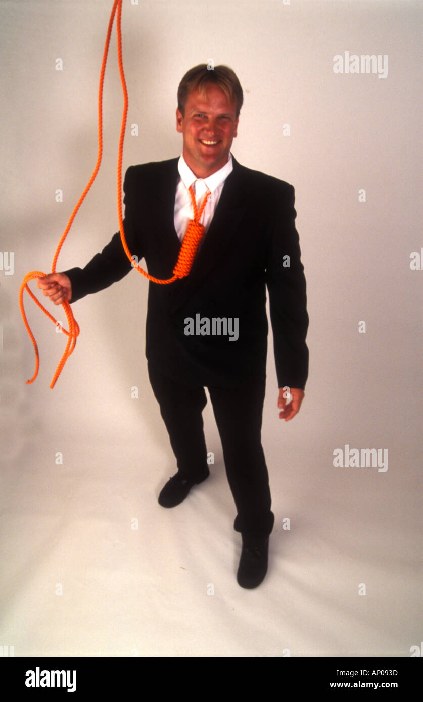 Necktie party going to work with a noose around your neck man tied up and in danger from himself suicide self abuse - Stock Image